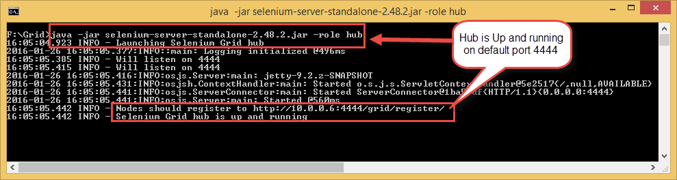 Selenium grid starting Hub