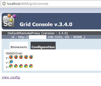 Selenium Grid Hub and Node configuration using JSON