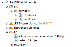 TestNg Batch File project structure